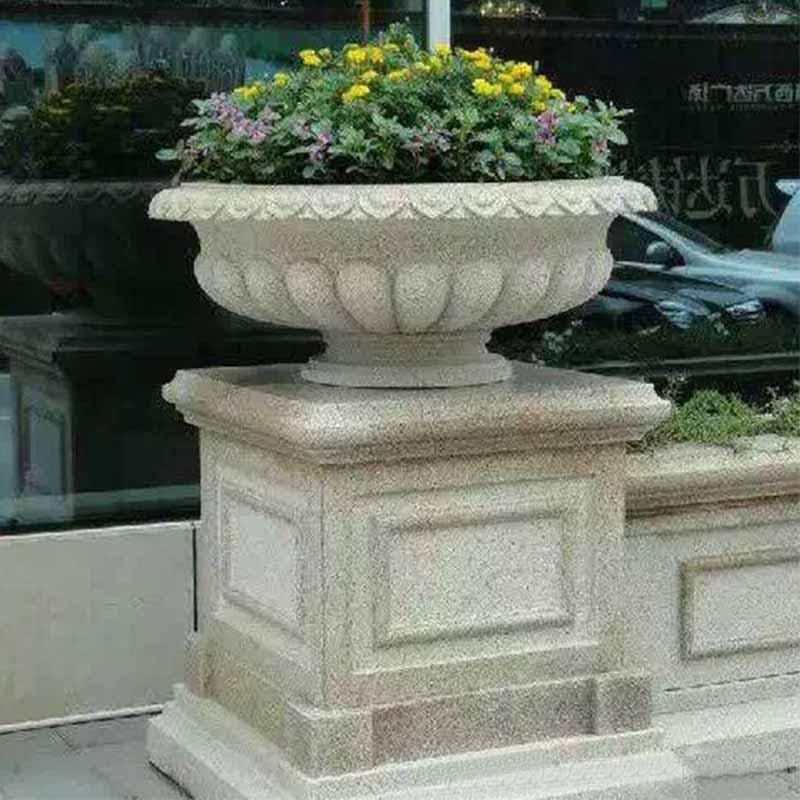 天然花岗岩欧式新宝5登录花盆花钵室外庭院落地景观摆件