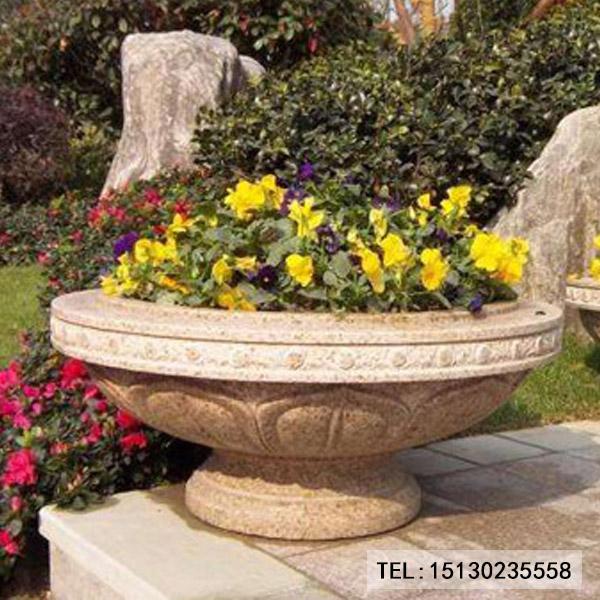 黄锈石花盆花钵园林装饰
